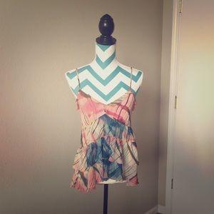 Floral babydoll vneck cami tank blouse